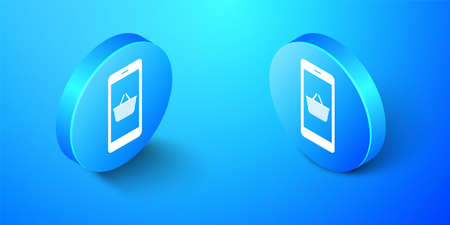 Isometric Mobile phone and shopping basket icon isolated on blue background. Online buying symbol. Supermarket basket symbol. Blue circle button. Vector Иллюстрация