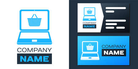 Logotype Mobile phone and shopping basket icon isolated on white background. Online buying symbol. Supermarket basket symbol. Logo design template element. Vector