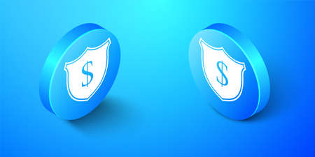 Isometric Shield and dollar icon isolated on blue background. Security shield protection. Money security concept. Blue circle button. Vector