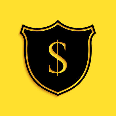 Black Shield and dollar icon isolated on yellow background. Security shield protection. Money security concept. Long shadow style. Vector