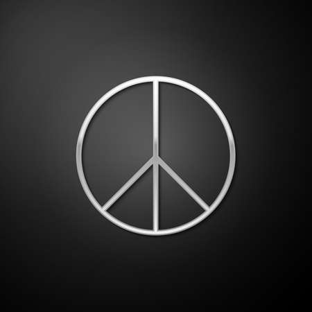 Silver Peace sign icon isolated on black background. Hippie symbol of peace. Long shadow style. Vector Vetores
