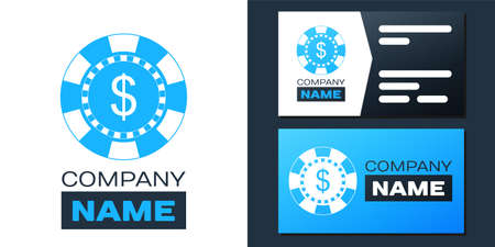 Logotype Casino chip and dollar symbol icon isolated on white background. Logo design template element. Vector