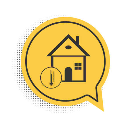 Black House temperature icon isolated on white background. Thermometer icon. Yellow speech bubble symbol. Vector Stock Illustratie