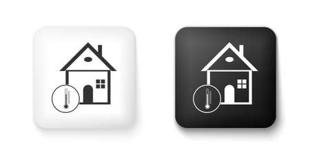 Black and white House temperature icon isolated on white background. Thermometer icon. Square button. Vector