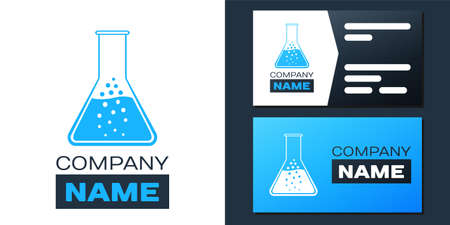 Logotype Test tube and flask - chemical laboratory test icon isolated on white background. Logo design template element. Vector