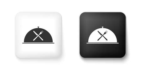 Black and white Cloche with crossed fork and knife icon isolated on white background. Restaurant symbol. Square button. Vector 矢量图像