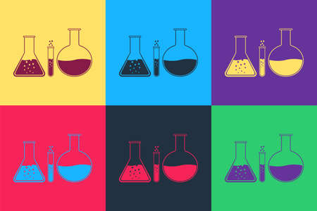 Pop art Test tube and flask - chemical laboratory test icon isolated on color background. Laboratory glassware sign. Vector