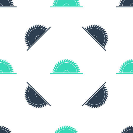 Green Circular saw blade icon isolated seamless pattern on white background. Saw wheel. Vector