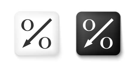 Black and white Percent down arrow icon isolated on white background. Decreasing percentage sign. Square button. Vector