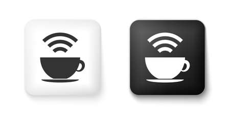 Black and white Cup of coffee shop with free wifi zone icon isolated on white background. Internet connection placard. Square button. Vector