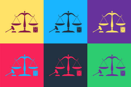 Pop art Scales of justice, gavel and book icon isolated on color background. Symbol of law and justice. Concept law. Legal law and auction symbol. Vector