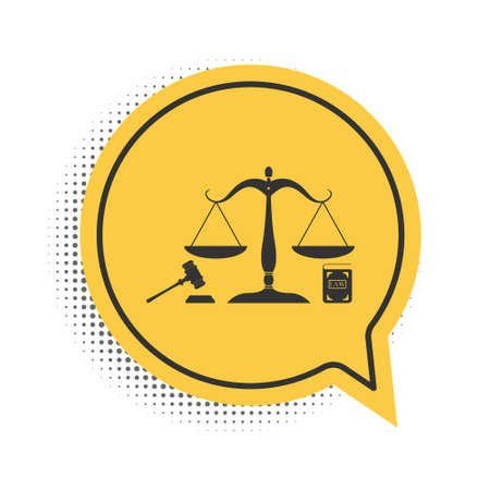 Black Scales of justice, gavel and book icon isolated on white background. Symbol of law and justice. Concept law. Legal law and auction symbol. Yellow speech bubble symbol. Vector Vektorové ilustrace