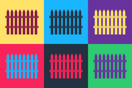 Pop art Fence wooden icon isolated on color background. Garden fence sign. Vector 向量圖像