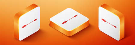 Isometric USB Micro cables icon isolated on orange background. Connectors and sockets for PC and mobile devices. Smartphone recharge supply. Orange square button. Vector