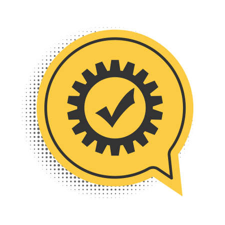 Black Gear with check mark icon isolated on white background. Cogwheel simple icon. Approved service sign. Transmission Rotation Mechanism symbol. Yellow speech bubble symbol. Vector 矢量图像