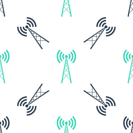 Green Antenna icon isolated seamless pattern on white background. Radio antenna wireless. Technology and network signal radio antenna. Vector