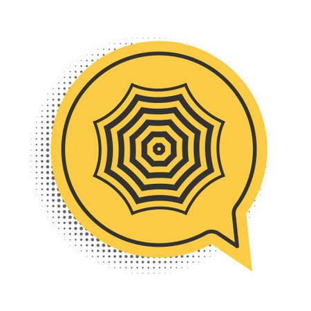 Black Sun protective umbrella fo beach icon isolated on white background. Large parasol for outdoor space. Summer vacation or picnic accessory. Yellow speech bubble symbol. Vector