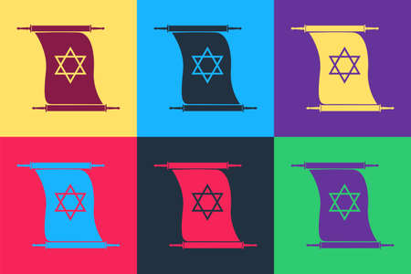 Pop art Torah scroll icon isolated on color background. Jewish Torah in expanded form. Torah Book. Star of David symbol. Simple old parchment scroll. Vector Vektorové ilustrace