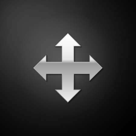 Silver Arrows in four directions icon isolated on black background. Long shadow style. Vector