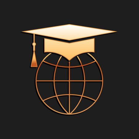 Gold Graduation cap on globe icon isolated on black background. World education symbol. Online learning or e-learning concept. Long shadow style. Vector Vektoros illusztráció