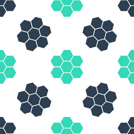 Green Honeycomb sign icon isolated seamless pattern on white background. Honey cells symbol. Sweet natural food. Vector