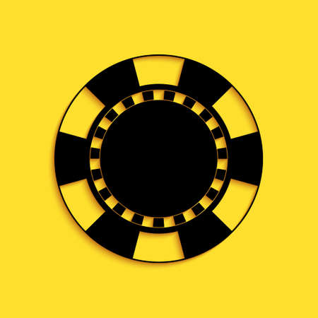 Black Casino chip icon isolated on yellow background. Long shadow style. Vector