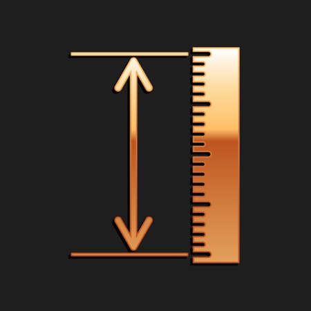 Gold The measuring height and length icon isolated on black background. Ruler, straightedge, scale symbol. Geometrical instruments. Long shadow style. Vector Vector Illustratie