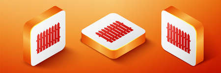 Isometric Fence wooden icon isolated on orange background. Garden fence sign. Orange square button. Vector 向量圖像