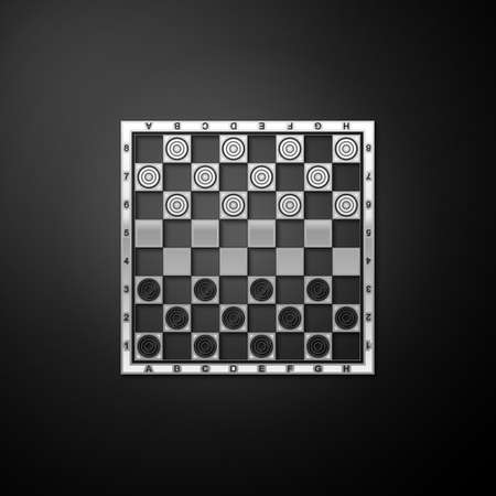 Silver Board game of checkers icon isolated on black background. Ancient Intellectual board game. Chess board. White and black chips. Long shadow style. Vector Illustration