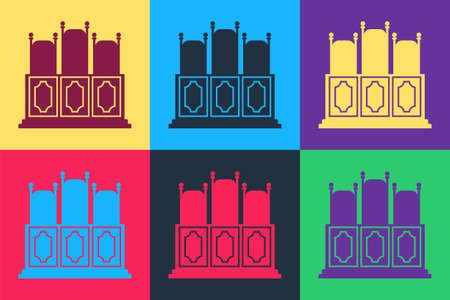 Pop art Courts room with table icon isolated on color background. Chairs icon. Vector