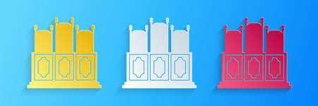 Paper cut Courts room with table icon isolated on blue background. Chairs icon. Paper art style. Vector