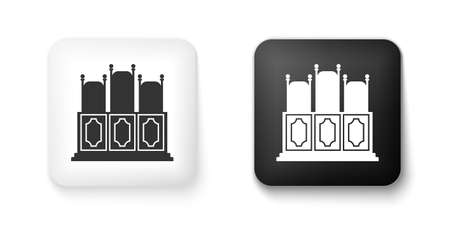 Black and white Courts room with table icon isolated on white background. Chairs icon. Square button. Vector