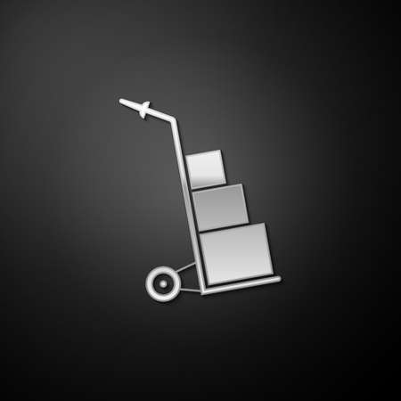 Silver Hand truck and boxes icon isolated on black background. Dolly symbol. Long shadow style. Vector
