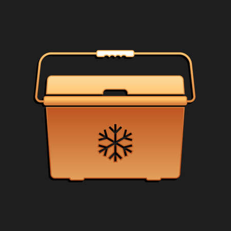 Gold Cooler bag icon isolated on black background. Portable freezer bag. Handheld refrigerator. Long shadow style. Vector