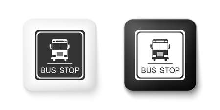 Black and white Bus stop icon isolated on white background. Square button. Vector