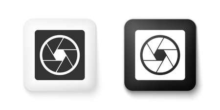 Black and white Camera shutter icon isolated on white background. Square button. Vector