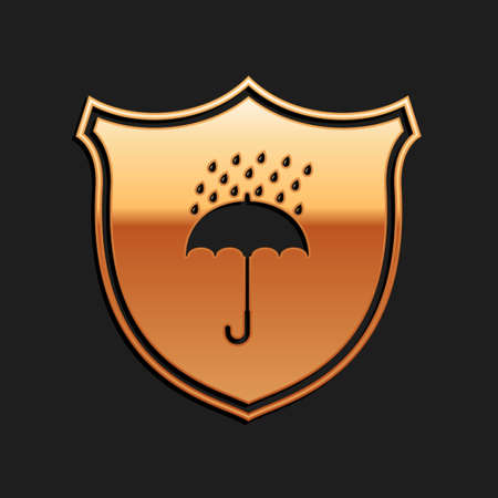 Gold Waterproof icon isolated on black background. Shield and umbrella. Protection, safety, security concept. Water resistant symbol. Long shadow style. Vector