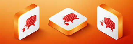 Isometric Wooden barrel on rack with stopcock and wooden beer mug icon isolated on orange background. Orange square button. Vector