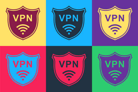Pop art Shield with VPN and WiFi wireless internet network icon isolated on color background. VPN protect safety. Virtual private network for security. Vector