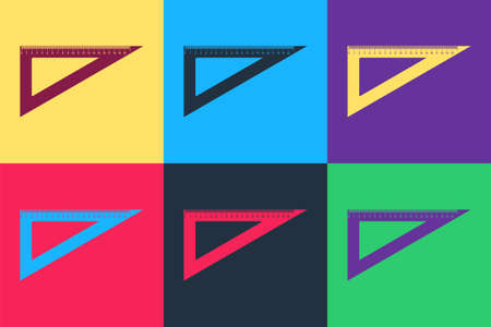 Pop art Triangular ruler icon isolated on color background. Straightedge symbol. Geometric symbol. Vector