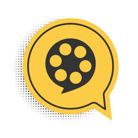 Black Film reel icon isolated on white background. Yellow speech bubble symbol. Vector
