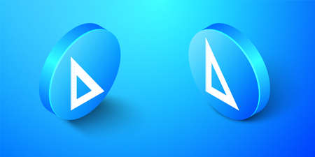Isometric Triangular ruler icon isolated on blue background. Straightedge symbol. Geometric symbol. Blue circle button. Vector