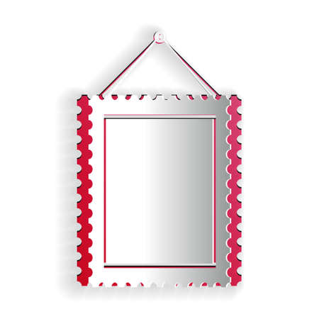 Paper cut Rectangular picture frame hanging on the wall icon isolated on white background. Paper art style. Vector