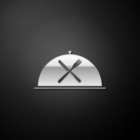 Silver Cloche with crossed fork and knife icon isolated on black background. Restaurant symbol. Long shadow style. Vector Çizim