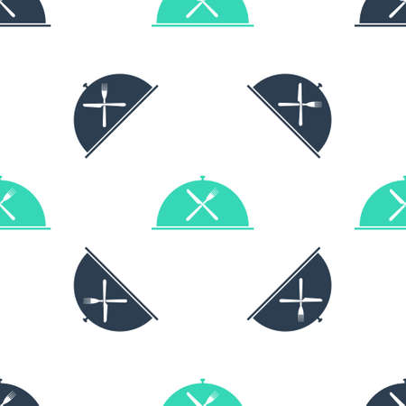 Green Cloche with crossed fork and knife icon isolated seamless pattern on white background. Restaurant symbol. Vector