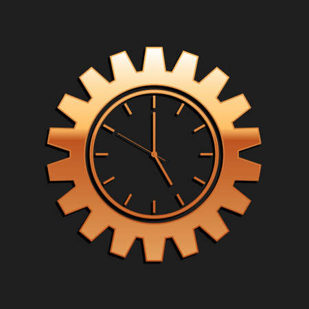 Gold Time Management icon isolated on black background. Clock and gear sign. Productivity symbol. Long shadow style. Vector