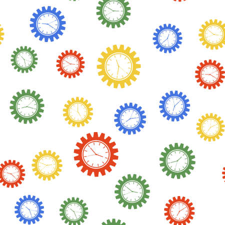Color Time Management icon isolated seamless pattern on white background. Clock and gear sign. Productivity symbol. Vector