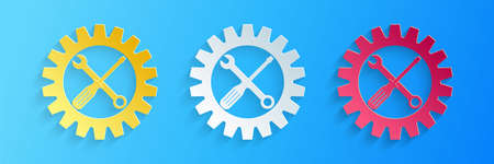 Paper cut Maintenance symbol - screwdriver, spanner and cogwheel icon isolated on blue background. Service tool symbol. Setting icon. Paper art style. Vector
