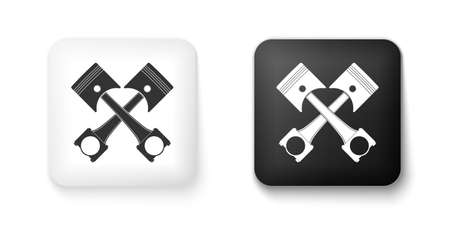 Black and white Two crossed engine pistons icon isolated on white background. Square button. Vector Çizim