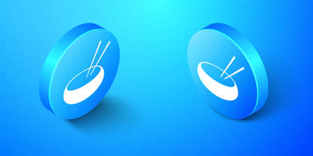 Isometric Bowl with asian food and pair of chopsticks silhouette icon isolated on blue background. Concept of prepare, eastern diet. Blue circle button. Vector